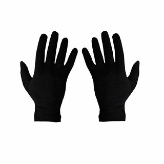 Nawani Men's Women's Black Cotton Riding Full Hand Gloves (Free Size, 1 Pair)