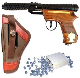 Jain Gift Gallery Bullet Mark-2 Wooden Air Gun With 200 Bullets Cover Black For Boys