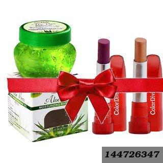 Set Of 2 Lipsticks And 1 Aloe Vera Gel