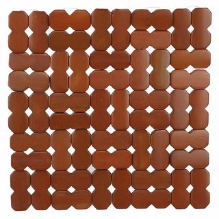 KHUSHI CREATION 2 Piece Bamboo Coasters or Pan Pot Holder Heat Insulation Pad (Brown, 17 x17 cm)