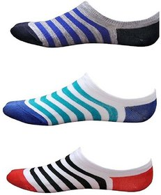 Virtue Multicolor Cotton Stripped Printed Loafer Socks For Women