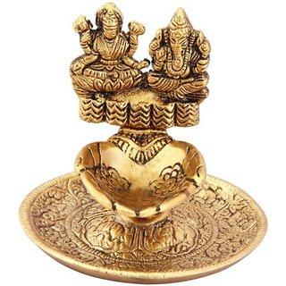 Ganesh Laxmi Deep for Pooja gold Plated Table Diya(Height 7 inch)