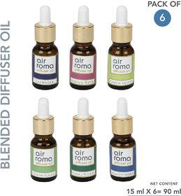 AiRoma Aroma Diffuser Oil (Lavender, Lemon Grass, Original Rose, Green Lemon, Atlantic Breeze and Magic Mogra), 15ml Eac