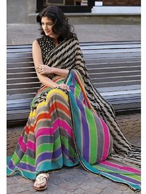 Multicolor Batik Print Silk Saree With Blouse by Sharda Creation