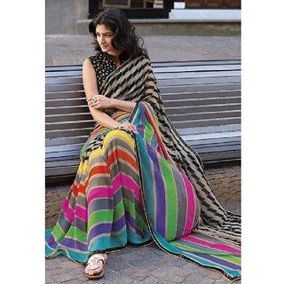 Sharda Creation Multicolor Batik Print Bhagalpuri Silk Saree With Blouse