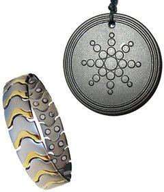 Titanium Bio magnetic Health Power Bracelet Plus Scalar Energy Pendant