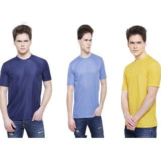 Solid Men  Women Round Neck Sky Blue, Yellow, Dark Blue T Shirt   Pack of 3