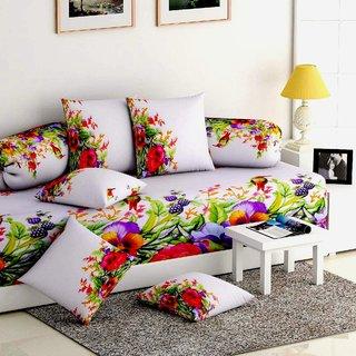 Ultra Soft Floral Diwan set ( 8 Piece Set) FLP-DWN-02