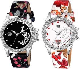 multi color Designer Stylish Leather Strap Diamond Studded LUXURY fashion watch for Women  Girls - mika 32