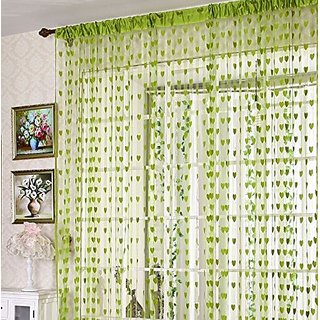 HomeStore-YEP 1 Piece Heart Door Curtains, Size 7 x 4 FT, Color - Green
