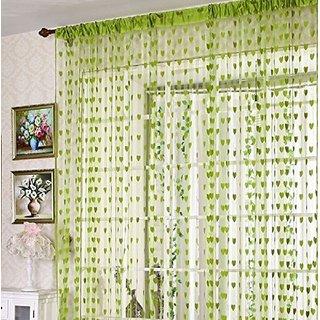 HomeStore-YEP 1 Piece Polyester Heart Design Door Curtains, Size 7 x 4 FT, Green