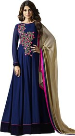 Saadhvi Women's Navy Blue Georgette Semi Stitched anarkali Style Salwar Suit
