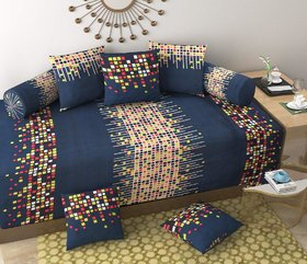 SHAKRIN Diwan Set of 8 Pieces (1 Single Bedsheet with 2 Bolsters Covers and 5 Cushion Covers) Colorfull Box