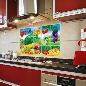 Jaamso Royals Oil Proof Kitchen Room Aluminium foil PVC Multicolor Home Wall Decor Sticker (Pack of 1)