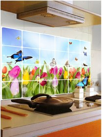 Removable Kitchen Oil Proof Decal Sticker Heat-Resistant Waterproof Tile Sticker Aluminium Foil wall Sticker ( Tulip Flowers and Butterflies) (60X90 CM)