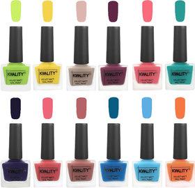 Kwality Valvet Nail Paints | Professional Nail Polish| Nail Paint Combo Set of 12 Light Lemon Green-Yellow-Light Baby Nude-Purple-Frozen Pink-Sea Green-Royal Blue-Nude Pink-Dark Nude-Peacock Blue-Light Blue-Peach