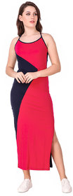 Texco Hot Pink and Navy Colorblock Stylish Back Maxi Dress for Women