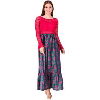 035dc16d84746 Buy Texco Fucia Pink And Green Lace Maxi Dress Online - Get 73% Off