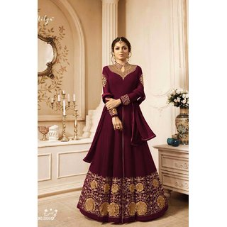 Salwar Soul Designer Faux Embroidered With Dupatta Maroon Suit