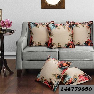 3D Digital Canvas Jute Cushion Cover Set Of 5 16X16 Inches / 40X40 Cms -Multi