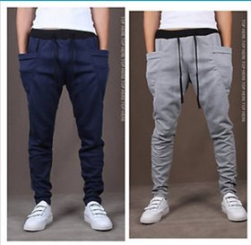 Pack of 2 Cotton Blend Trackpants Blue  Grey by Stylatract