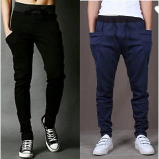 Pack of 2 Cotton Blend Trackpants Black & Navy by Stylatract