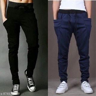 Stylatract Black ,Navy Cotton Blend Running Trackpants For Men Pack of 2