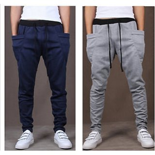 Pack of 2 Cotton Blend Men's Trackpants Blue Grey by Stylatract