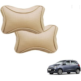 Auto Addict Car Dotted Beige Neck Rest Cushion Pillow Set Of 2 Pcs For Hyundai Grand i10