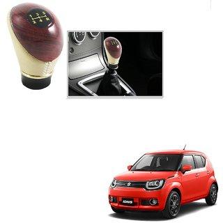 Auto Addict Leatherette Wooden Finished Gear Knob Beige Car Gear Shift knob For Maruti Suzuki Ignis