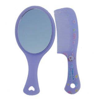 Maahal Hand Mirror with Comb Set for Women and Girls Gift for Girls Pack of 1 (Purple)