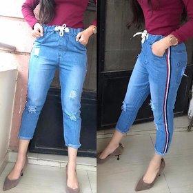 Women's Drawstring Side Stripe Light Blue Denim Jogger's/ Jegging/ Yoga Wear /Gym Wear /Sport's Wear /Running Wear