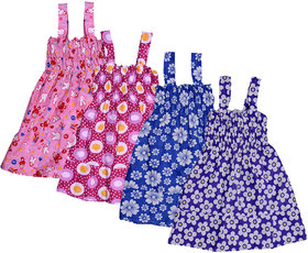 IndiWeaves Baby Girls Cotton Sleevless Printed Frock  (Pack of 4)