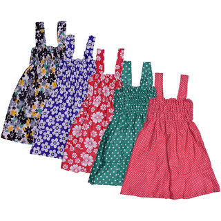 IndiWeaves Baby Girls Cotton Sleevless Printed Frock  (Pack of 5)