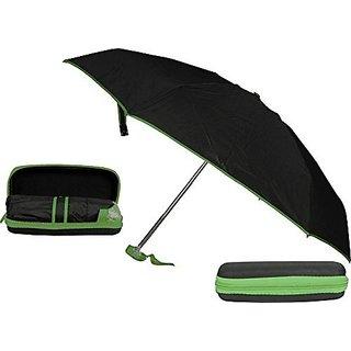Caviors 5 Fold Portable Black Umbrella with Black Green Lining Case