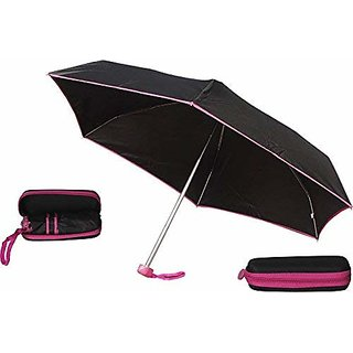 Caviors 5 Fold Portable Black with Pink Lining with Case Umbrella