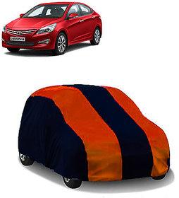 QualityBeast Extreme Car Body Cover for Hyundai Verna Fluidic (OrangeBlue)