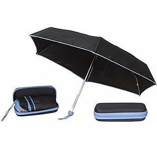 Caviors 5 Fold Portable Black with Blue Lining with Case Umbrella