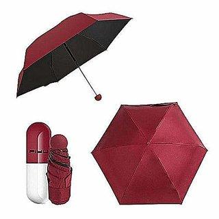 Caviors Designer Ultra Mini UV Coated 4-Fold Travel Capsule Umbrella - 1 PC (Maroon) Four Fold Umbrella Sun and Rain U