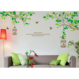 Asmi Collections Wall Stickers Wall Decals Tree Branches Birds Cage