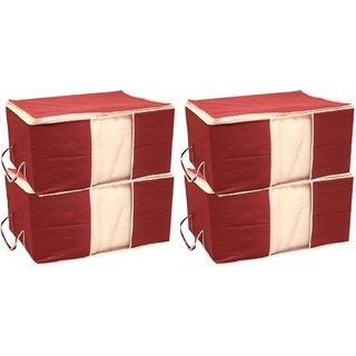 Tagve Set of 4 Extra Large Size Underbed Storage Bag, Storage Organiser, Saree Cover Set, Sari Packing Bag with Zip(Red)