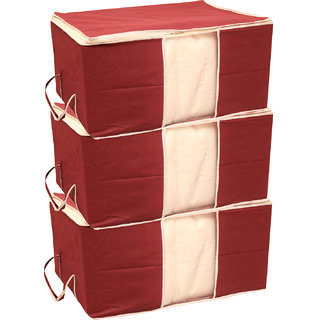 Tagve Set of 3 Extra Large Size Storage Organiser Underbed Storage Bag, Blanket Cover, Saree Cover (Red)