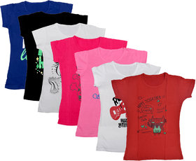 IndiWeaves Girls Cotton Half Sleeves Printed T-Shirts Pack of 7