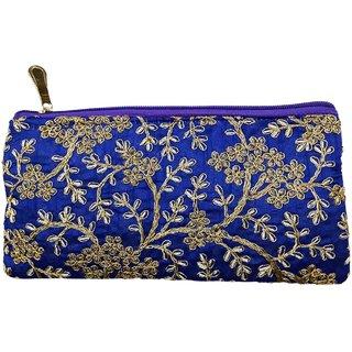 PRODUCTMINE Antique Golden Color Embroidered Purse Zardozi Embroidery Floral Clutch Purse Pouch - Blue