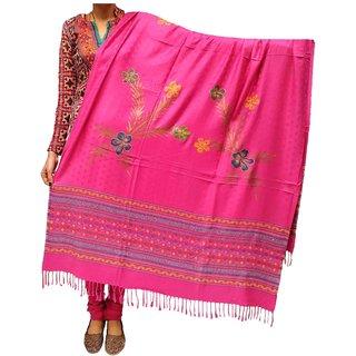 Varun Cloth House Womens Woollen silousky Work Shawl (vch6221, Pink, Free Size)