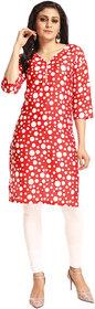 Grishti Red Polyester Polka Dot Printed 3/4th Sleeved Kurti for Women