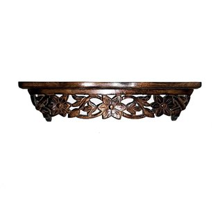TheDecorShoppe Wooden Hand Carved Wall Shelf (Brown)