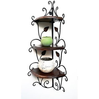 TheDecorShoppe Wooden Floating Corner Wall Shelf (Brown)