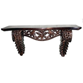 TheDecorShoppe Wooden Hand Carved Antique Wall Shelf for Living Room