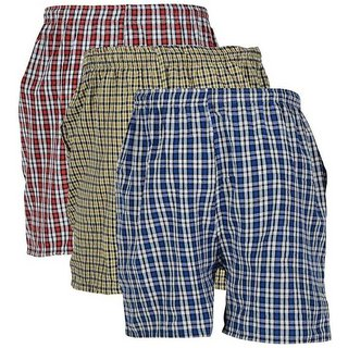 Royado Men's Cotton Checked Shorts Blue, Green  Red Color Check's Boxer 3 pcs combo